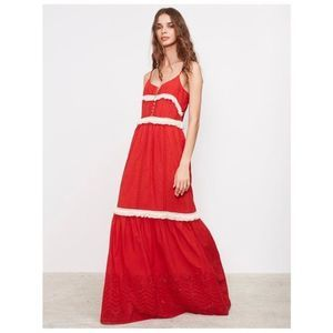 NWT MISA Florencia Eyelet Tiered Maxi Dress Red L